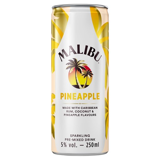 Picture of Malibu Pineapple Sparkling Pre-Mixed Drink 250ml
