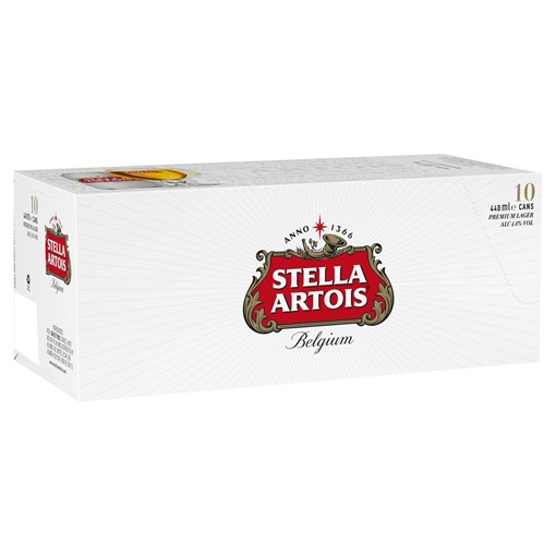 Picture of Stella Artois Belgium Premium Lager Beer Cans 10 x 440ml