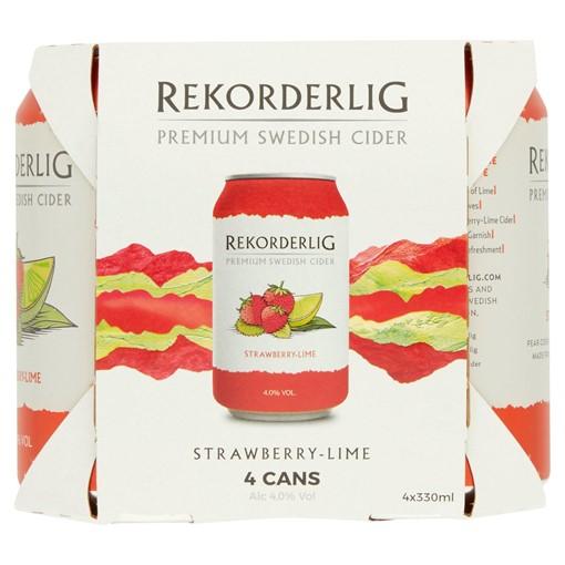 Picture of Rekorderlig Premium Swedish Strawberry-Lime Cider 4 x 330ml