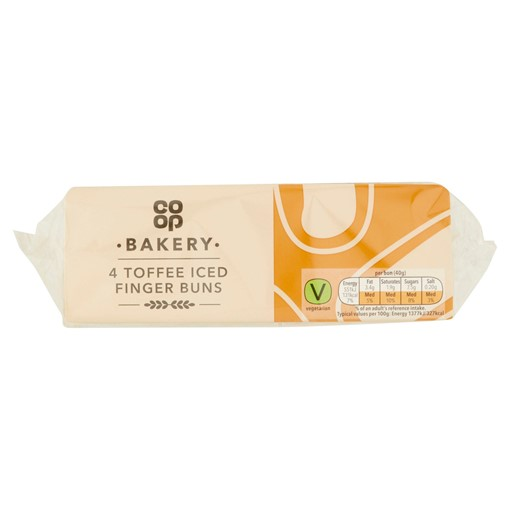 Picture of Co-op Bakery 4 Toffee Iced Finger Buns